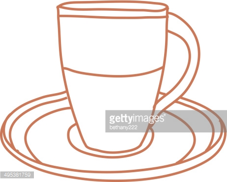 Coffee Cup and Saucer Line Drawing Outline isolated on White