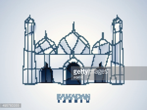 Beautiful 3D view of mosque on blue background.