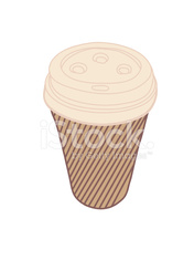Tan Striped Take Out Coffee Cup with Beige Plastic Lid