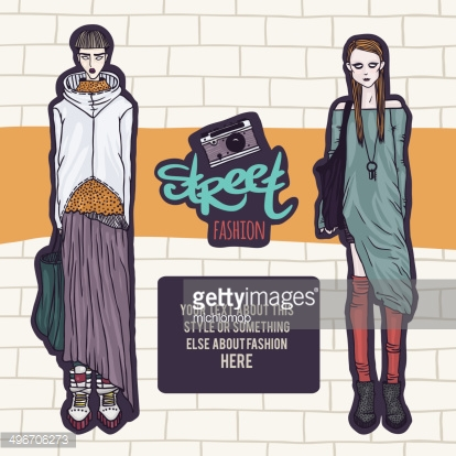Double street fashion look, template for your design, vector illustration