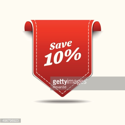 Save 10 Red Label Icon Vector Design