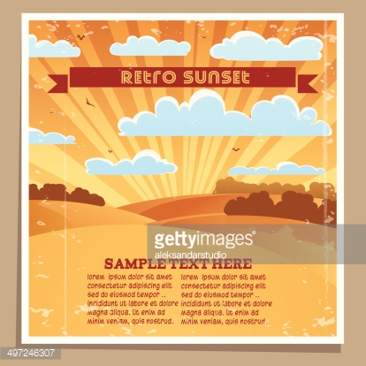 Landscape Retro Sunset Poster