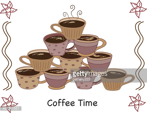 Coffee Mugs Stacked in Pyramid with Hot Beverage on Grunge
