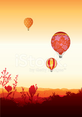 Hot air balloons - orange sunset