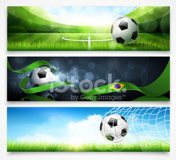 Set of football banners
