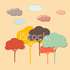 Colorful Trees and Clouds Vector Illustration