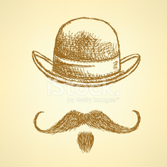 Sketch hat and mustache, vector  background