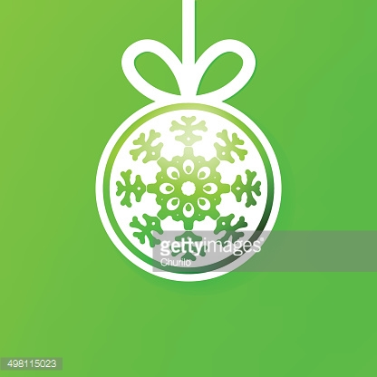 Christmas ball cutted from paper on green. + EPS8