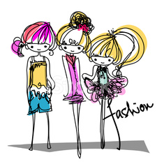 three doodle girls fashion show cartoon characters