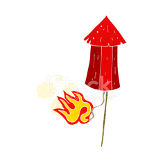 cartoon old firework rocket