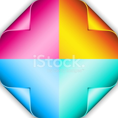 Set of four color curled corners