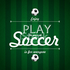 Enjoy Play the game of Soccer text, Card design