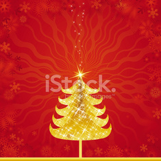 golden christmas tree, vector