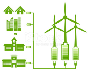 Green Energy From Wind Mill And Green Icon