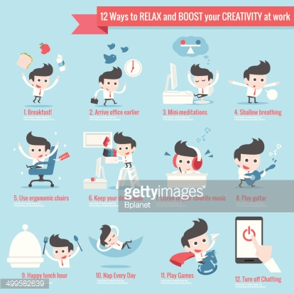 infographics of 12 ways to relax at work