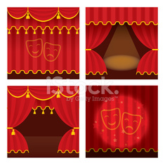 Theater stage set with opened and closed red curtain., ray