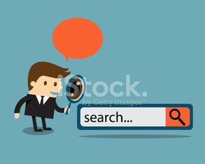Business man with search engine button