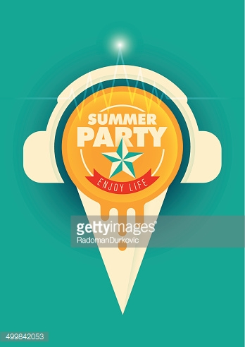 Summer party poster with ice cream.