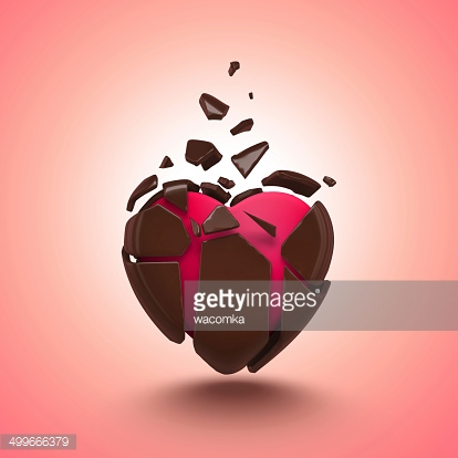 abstract chocolate candy heart isolated object