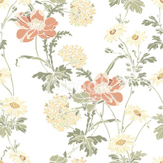 Seamless pattern with flowers poppies
