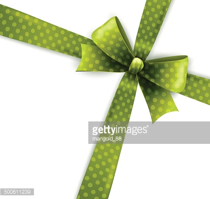 Vector  illustration isolated green polka dots bow