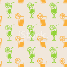 seamless background with glasses of juice