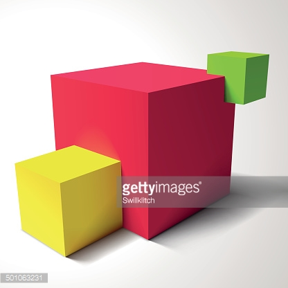 Composition with brignt colored cubes