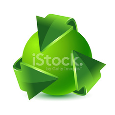 Green recycling arrows and green earth