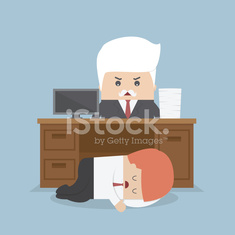 Employee sleeping under his desk and angry boss