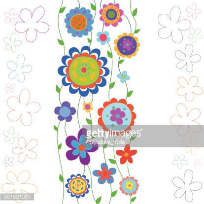 Cartoon background with colorful flowers