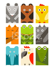 Flat Childish Rectangular Animals Set
