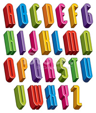 3d font, vector tall thin letters.