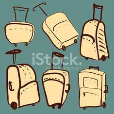 set of colored suitcases vector illustration
