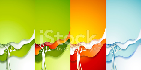 Abstract seasonal paper tree backgrounds