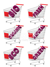 Red 3D Shopping Cart with Bio Texts