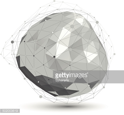Distorted 3D abstract object with lines and dots