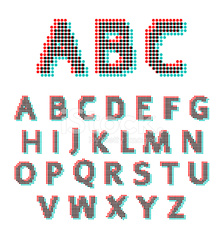 Stereoscopic circles font