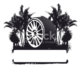 racing wheel with grunge banner and palms