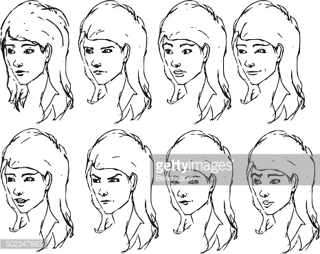 Girl face expressions sketches. Vector illustration