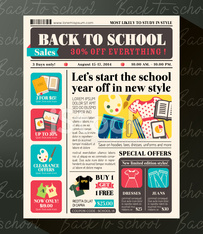 Back to School Sales Promotional Design Template in Newspaper st