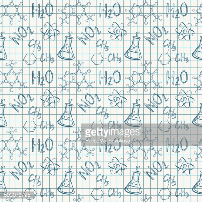 Chemical seamless pattern. Vector background.