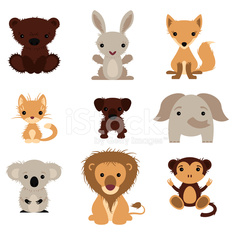 Set of various lovely animals, wild and pet
