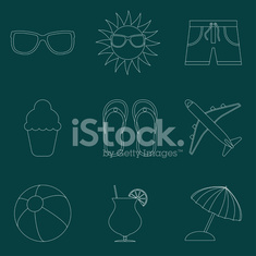 Set of icons of Summer travel theme. Simple line style
