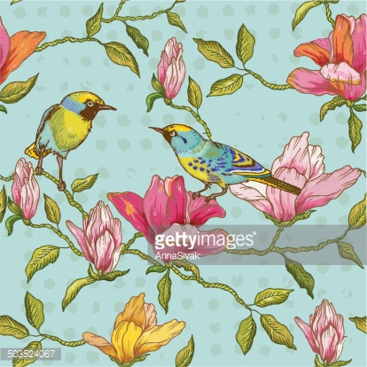 Vintage Seamless Background - Flowers and  Birds