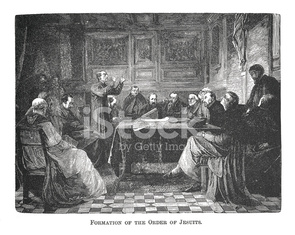 Formation of the Order of Jesuits (antique engraving)