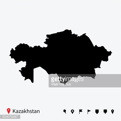 High detailed vector map of Kazakhstan with navigation pins.