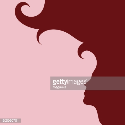 woman profile with long hair silhouette