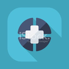 Flat modern design with shadow vector icons: medical cross
