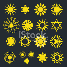 Set of Abstract Yellow Sun Icons with Various Rays on