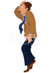 Cartoon man in brown jacket standing on tiptoe